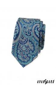 Keskeny nyakkendő, kék Paisley motívummal