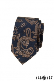 Kék keskeny nyakkendő barna paisley motívummal