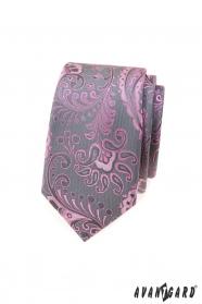 Szürke keskeny nyakkendő rózsaszín paisley mintával