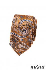 Narancssárga keskeny nyakkendő, kék paisley mintával