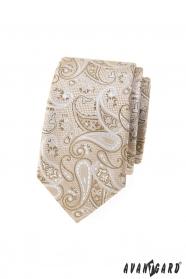 Bézs keskeny nyakkendő paisley mintával