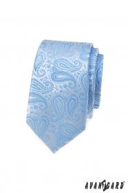 Keskeny nyakkendő világoskék paisley mintával