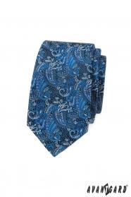 Keskeny nyakkendő kék paisley mintával