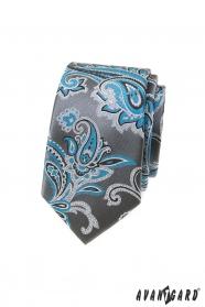 Szürke keskeny nyakkendő türkiz paisley motívummal