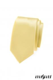Egyszínű, világos sárga nyakkendő SLIM