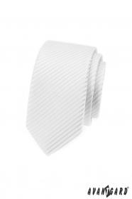 Fehér vékony nyakkendő, fényes csíkokkal