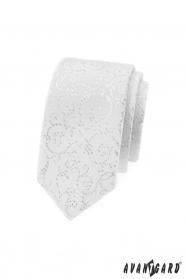 Fehér vékony nyakkendő ezüst díszekkel