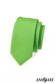 Keskeny slim nyakkendő,  zöld matt