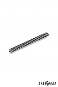 Ezüst nyakkendő klip, fekete mintával