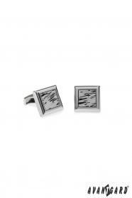 Csillogó ezüst premium fekete modern mintás mandzsettagombok