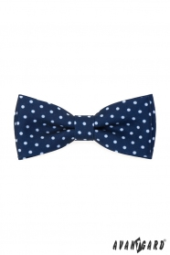 Kék csokornyakkendő fehér ponttal + díszzsebkendő