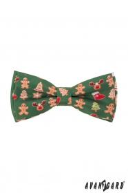 Zöld csokornyakkendő karácsonyi mintával