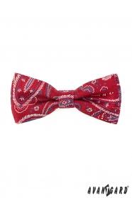 Mintás vörös férfi csokornyakkendő díszzsebkendővel