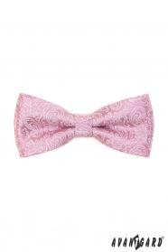 Por rózsaszín csokornyakkendő paisley mintával + díszzsebkendő