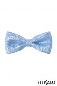 Paisley csokornyakkendő díszzsebkendővel fényes kék színben
