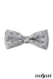 Világosszürke csokornyakkendő díszzsebkendővel, Paisley mintával