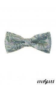 Csokornyakkendő díszzsebkendővel, zöld Paisley mintával