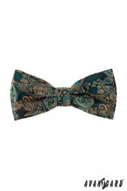 Zöld csokornyakkendő díszzsebkendővel, színes Paisley mintával
