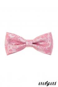 Rózsaszín csokornyakkendő Paisley mintával + díszzsebkendő