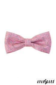 Rózsaszín csokornyakkendő szürke mintával + díszzsebkendő