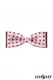 Klasszikus rózsaszín csokornyakkendő, barna pontokkal
