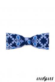 Expresszív kék mintás csokornyakkendő