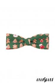 Zöld csokornyakkendő karácsonyi motívummal