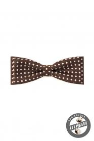 Pamut csokornyakkendő fehér pöttyös mintával - Barna