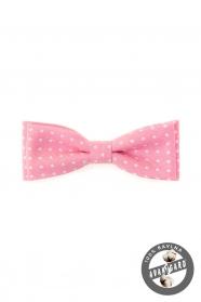 Rózsaszín csokornyakkendő, fehér pöttyökkel
