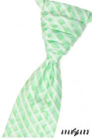 Esküvői nyakkendő díszzsebkendővel, zöld kockás