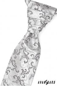 Esküvői nyakkendő zsebkendővel fekete és szürke motívumokkal