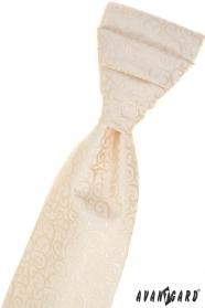 Krémes francia nyakkendő, fényes mintával
