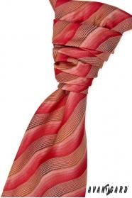 Esküvői nyakkendő díszzsebkendővel, vörös-barna