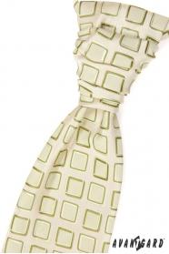 Esküvői nyakkendő, zöld négyzetek