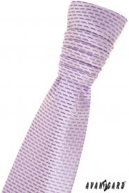 Francia nyakkendő lila csíkokkal és díszzsebkendővel