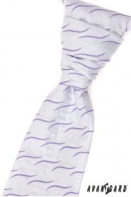 Esküvői nyakkendő díszzsebkendővel, lila hullámokkal