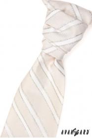 Esküvői bézs nyakkendő, ezüst csíkok
