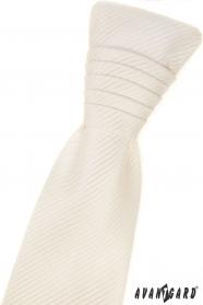 Francia krém nyakkendő csíkos textúra és díszzsebkendő