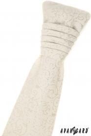 Francia krém nyakkendő díszzsebkendővel - ezüst mintával
