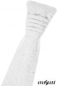 Fehér francia nyakkendő, fényes díszítéssel