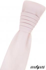 Francia nyakkendő díszzsebkendővel - rózsaszín elpirul