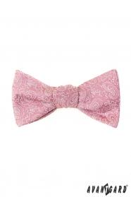 Paisley megkötős csokornyakkendő rózsaszínű + díszzsebkendő