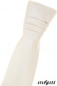 Fiú francia nyakkendő, krémszínű csíkokkal