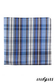 Csíkos kék/fehér férfi díszzsebkendő