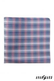 Retró mintás kék férfi díszzsebkendő