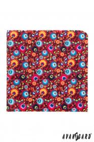 Virágos piros díszzsebkendő