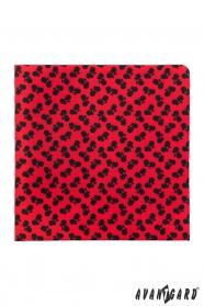 Fekete pici kerékpáros mintás piros díszzsebkendő