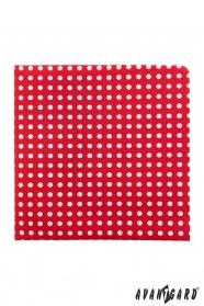 Piros díszzsebkendő fehér pöttyökkel