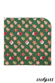 Zöld díszzsebkendő karácsonyi mintával