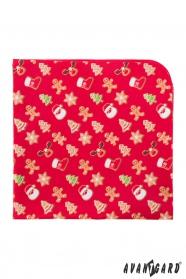 Piros díszzsebkendő mintával karácsonyi mézeskalács
